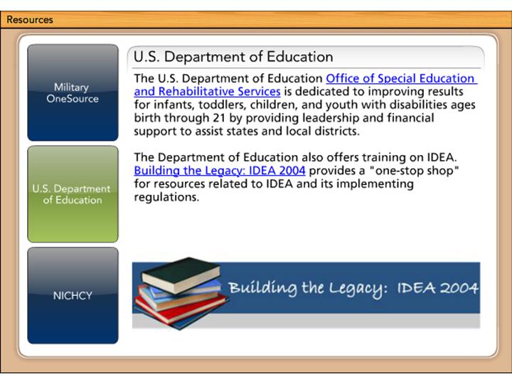 IDEA :: Resources - U S  Department of Education